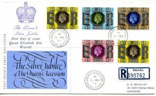 1977 Silver Jubilee Great Britain Po/bradbury Illus.  Fdc Queen Eliz Ave Cds.  Pmk photo