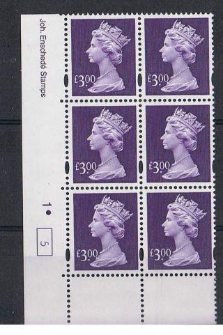 Gb Machin £3.  00 Dull - Violet X 6 Enschede Corner Cylinder Block (1.  Dot) [5] photo
