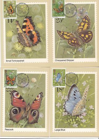 (32405) Gb Phq Fdi Butterflies Maxicard / Postcard - London Sw 13 May 1981 photo