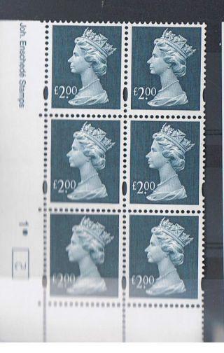Gb Machin £2.  00 Dull Blue X 6 Enschede Corner Cylinder Block (1.  Dot) [2] photo
