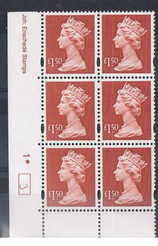 Gb Machin £1.  50 Brown - Red X 6 Enschede Corner Cylinder Block (1.  Dot) [3] photo