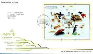 Darwin Miniature Sheet Fdc 12 - 2 - 09 Royal Mail Shrewsbury Shs - F10 photo