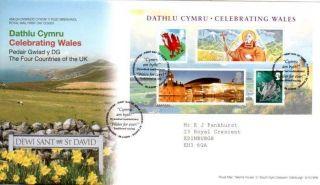Celebrating Wales Miniature Sheet Fdc 26 - 2 - 09 St.  Davids Shs - F10 photo