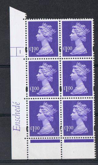 Gb Machin £1.  00 Blue - Violet X 6 Enshede Corner Cylinder Block (1 No Dot) photo