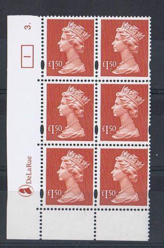 Gb Machin £1.  5 0 Brown - Red X 6 De La Rue Corner Cylinder Block (3.  Dot) [1] photo