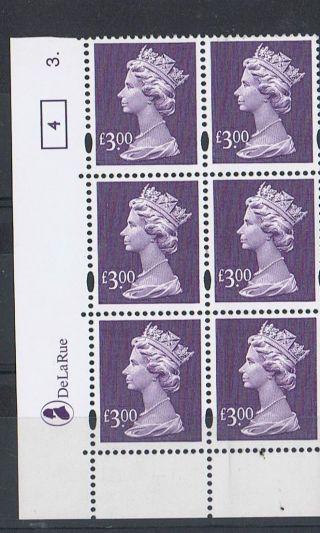Gb Machin £3.  00 Deep - Mauve X 6 De La Rue Corner Cylinder Block (3 Dot) [4] photo