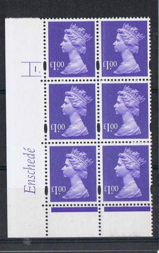 Gb Machin £1.  00 Blue - Violet X 6 Enshede Corner Cylinder Block (1.  With Dot) photo