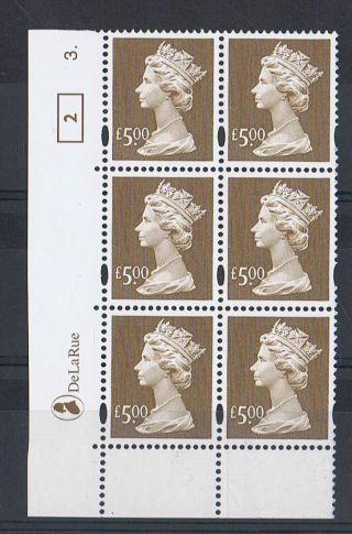 Gb Machin £5.  00 Brown X 6 De La Rue Corner Cylinder Block (3.  Dot) [2] photo