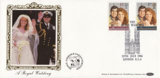 1986 Gb Benham Royal Wedding Fdc With London Ec4 Special Handstamp photo