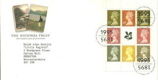 Royal Mail Nationaltrust Booklet Pane Fdc Fdi Edinburgh 1995 Shs Canc photo