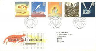 Royal Mail Peace & Freedom Fdc Fdi London Sw Peace & Freedom Shs Canc 1995 photo