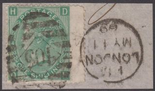 Gb Qv 1/ - Green Sg117 Plate 4 One Shilling