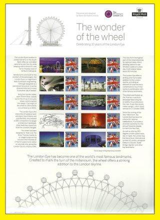 2010 Cs11 Royal Mail London Eye 10th Anniversary Sheet, photo