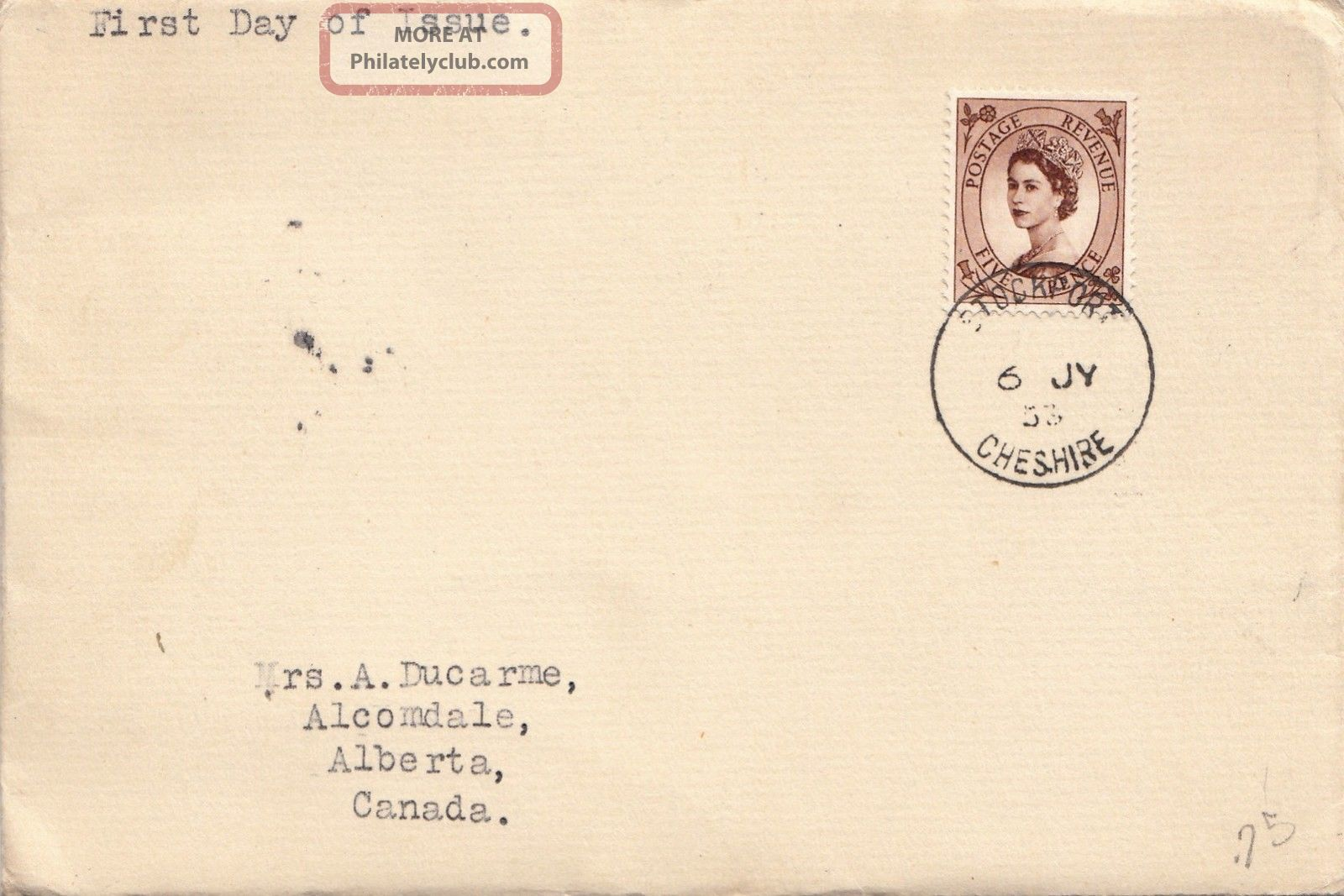(21984) Gb Fdc 5d Wilding To Canada - Stockport 6 July 1953 First Day Covers photo