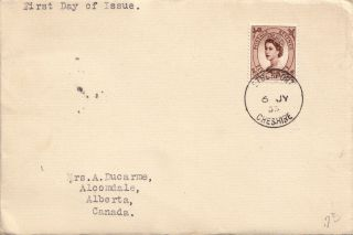 (21984) Gb Fdc 5d Wilding To Canada - Stockport 6 July 1953 photo