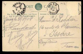 Jersey To France 1908 Ppc Fine Granville Boite Mobile Mobile Box. .  Stamp Removed photo