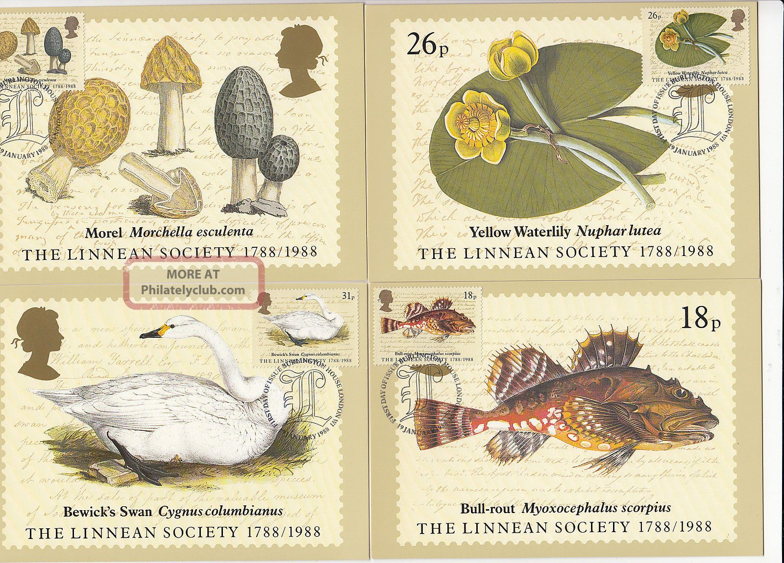 (32413) Gb Phq Fdi Linnean Society Maxicard / Postcard - Burlington 19 Jan 1988 1971-Now photo