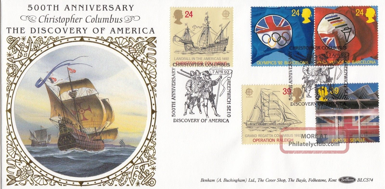 (24395) Gb Benham Fdc Christopher Columbus / Barcelona Olympics - Greenwich 1992 1971-Now photo