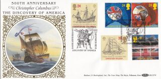 (24395) Gb Benham Fdc Christopher Columbus / Barcelona Olympics - Greenwich 1992 photo