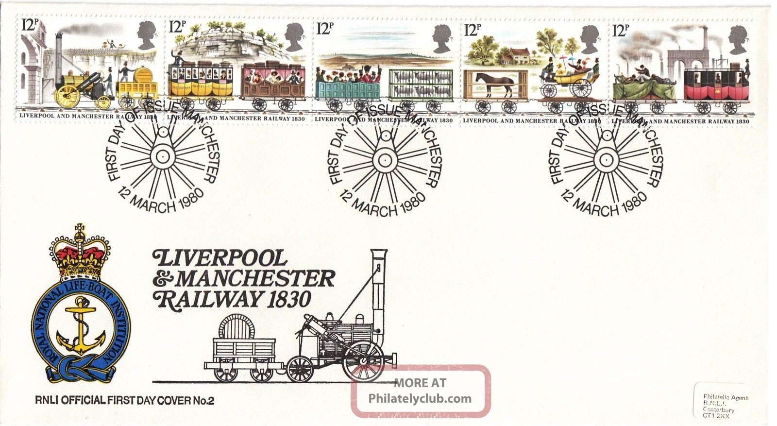 (28798) Gb Rnli Fdc Liverpool And Manchester Railway - Manchester 12 March 1980 1971-Now photo