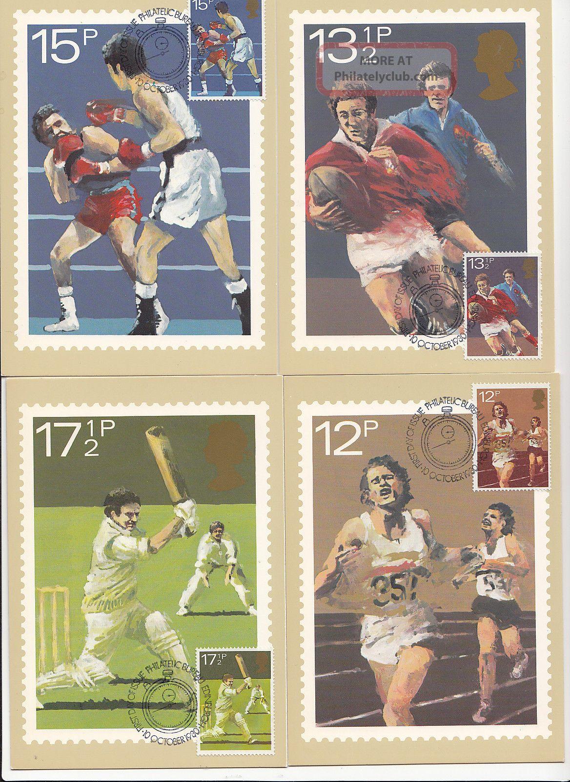 (32420) Gb Phq Fdi Sports Rugby Cricket Maxicard / Postcard Bureau 10 Oct 1980 1971-Now photo