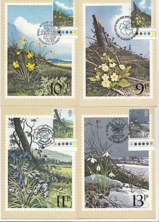 (32423) Gb Phq Fdi Flowers Traf Light Margin Maxicard / Postcard - 21 Mar 1979 photo