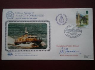 Cover Rnli Offical No 177 Signed Coxswain Naming Of City Of Sheffied photo