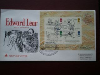 Cover Mercury 1988 Edward Lear Minisheet Cat Value £10 Special Hand Stamp photo
