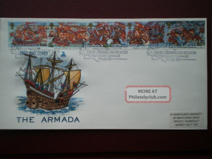 Cover Mercury 1988 The Armada Cat Value £11 Special Hand Stamp 1971-Now photo