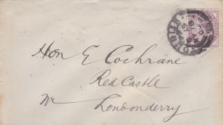 Qv Cover 1900 Irish Londonderry 1d Imperf Penny Lilac Stamp Hon E Cochrane photo