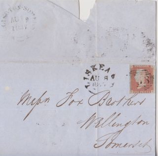Qv Entire Wrapper 1847 To Wellington Somerset With 1d Imperf Stamp photo
