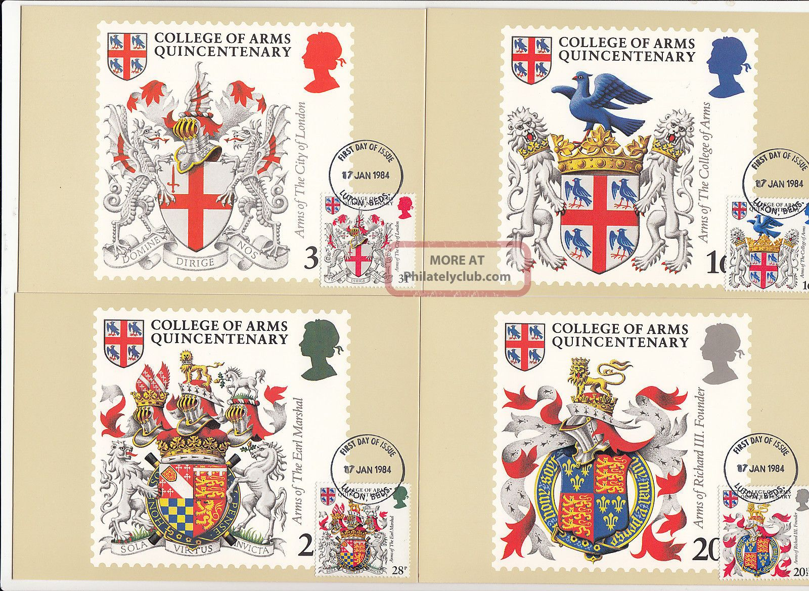 (32432) Gb Phq Fdi Scottish Heraldry Maxicard / Postcard - Luton 17 Jan 1984 1971-Now photo