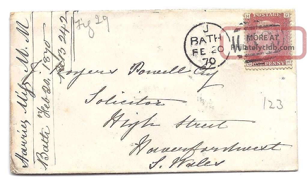 Qv Cover 1870 1d Penny Red Stamp Bath To J Rogers Powell In South Wales Great Britain photo