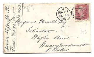 Qv Cover 1870 1d Penny Red Stamp Bath To J Rogers Powell In South Wales photo