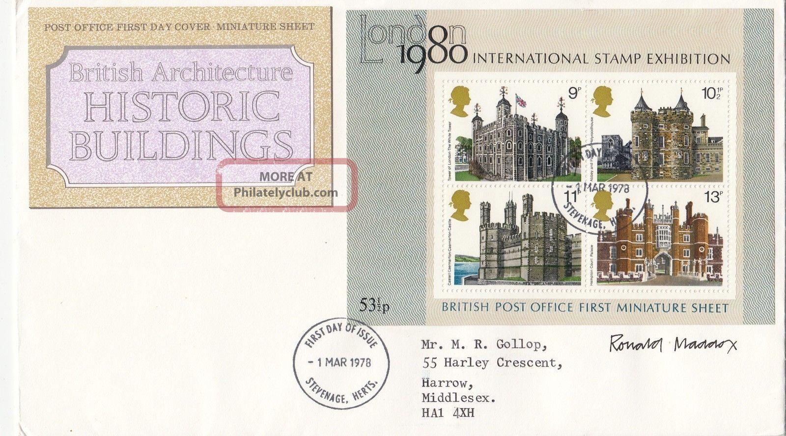(28805) Gb Fdc Designer Signed Histroric Building Minisheet Stevenage 1 Mar 1978 1971-Now photo