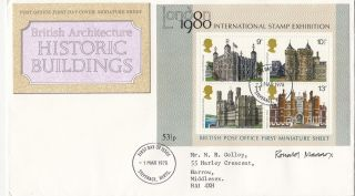 (28805) Gb Fdc Designer Signed Histroric Building Minisheet Stevenage 1 Mar 1978 photo