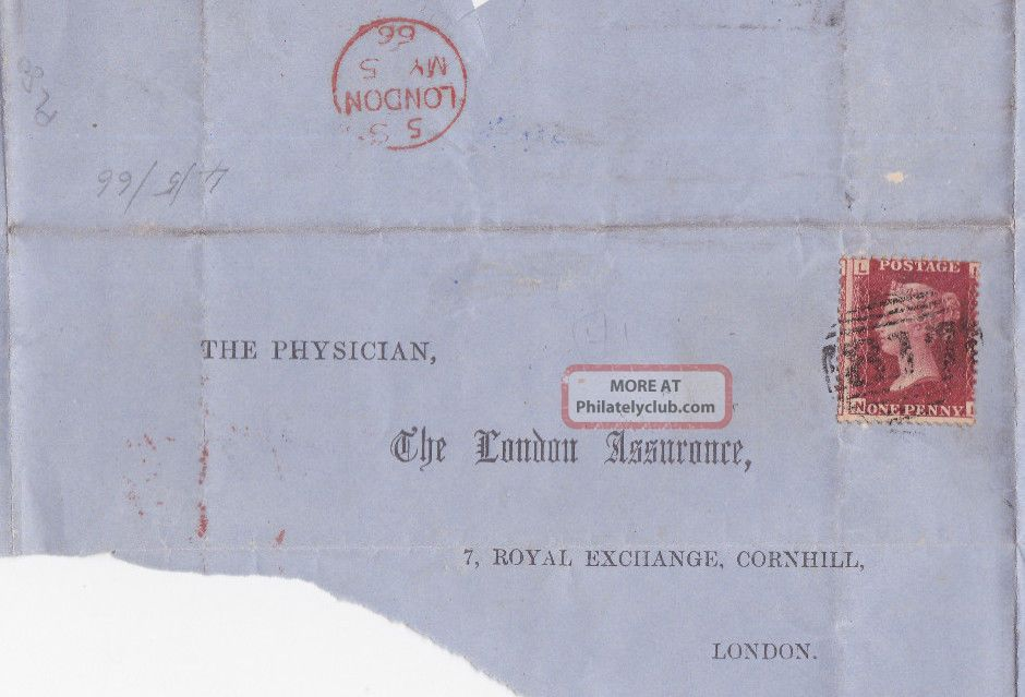 Qv Wrapper London 1866 With 1d Penny Red Stamp To The Physician Great Britain photo