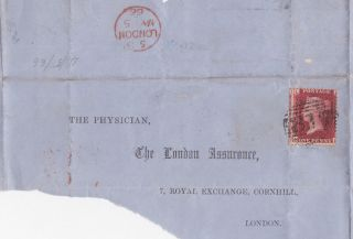 Qv Wrapper London 1866 With 1d Penny Red Stamp To The Physician photo