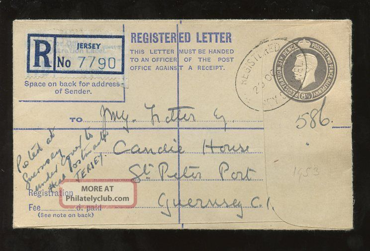 Jersey To Guernsey Kg6 Stationery Registered Envelope 1953. . .  8 1/2d Regional Issues photo