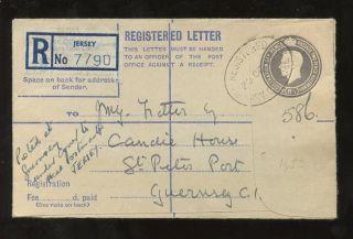 Jersey To Guernsey Kg6 Stationery Registered Envelope 1953. . .  8 1/2d photo