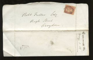 Lettersheet 1857 Waterlow Patent El Private Print. . .  Gb Qv Penny Red Lcp14. .  No.  10 photo
