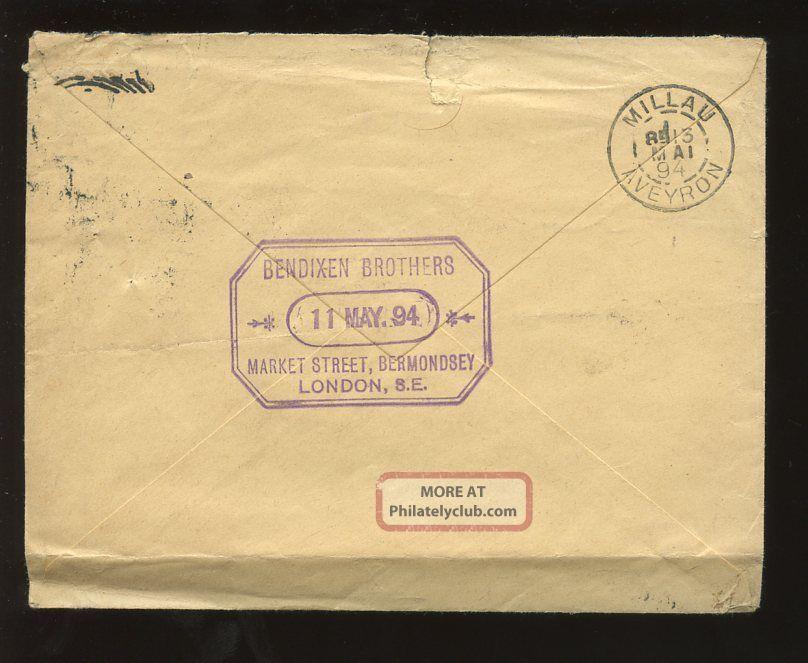 London Leather Merchants 1894 Bendixen Bermondsey. . .  Qv Jubilee 2 1/2d To France Covers photo