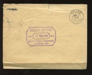 London Leather Merchants 1894 Bendixen Bermondsey. . .  Qv Jubilee 2 1/2d To France photo