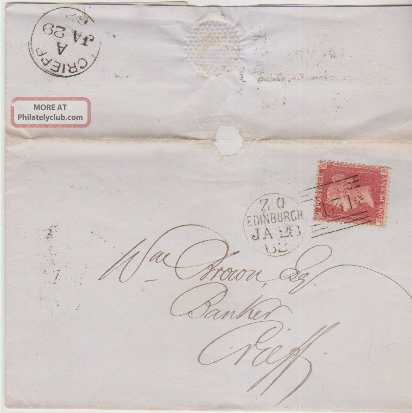 Qv Wrapper 1862 Edinburgh 1d Penny Red Stamp To William Brown Banker At Crieff Great Britain photo
