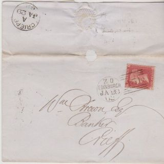 Qv Wrapper 1862 Edinburgh 1d Penny Red Stamp To William Brown Banker At Crieff photo