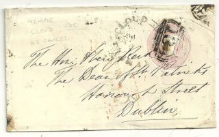 1846 Udc Temple Cloud & =134= Bristol Numeral Cancelling 1d Pink To Dublin Eire photo