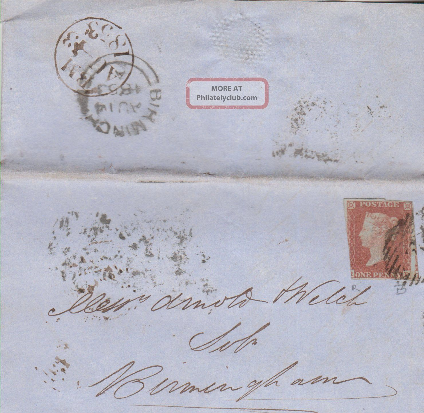 Qv Wrapper Birmingham 1d Imperf Penny Red Stamp 1853 Great Britain photo
