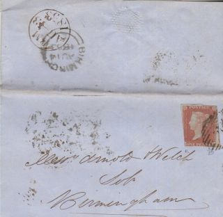Qv Wrapper Birmingham 1d Imperf Penny Red Stamp 1853 photo