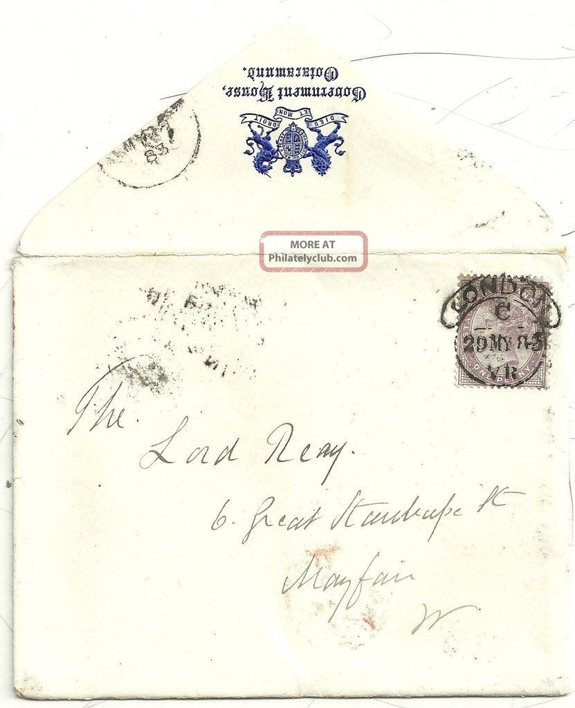 1883 Rare London V.  R.  Hooded Cancel Ex Government House Ootacamund To Lord Reay Covers photo