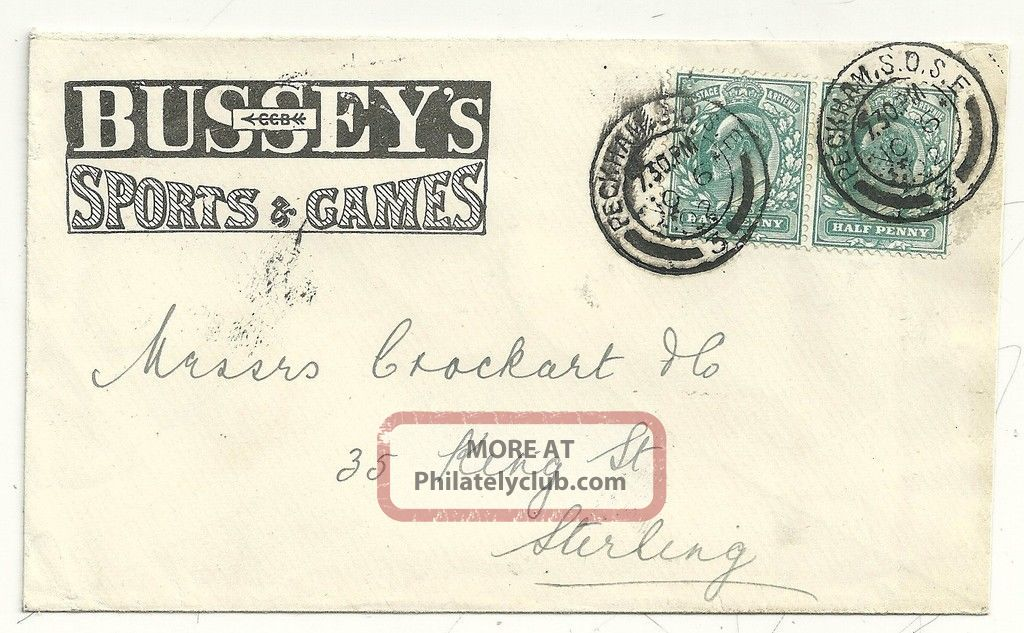1902 George Bussey ' S Sports & Games Advertising Cover To Crockart In Stirling Covers photo
